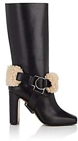 Off-White Women's Harness-Strap Leather Riding Boots - Black