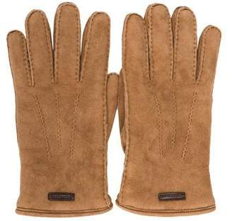 Burberry Shearling-Lined Suede Gloves