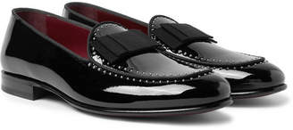Dolce & Gabbana Grosgrain-Trimmed Studded Patent-Leather Loafers