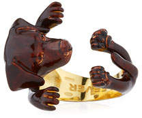 Visconti & Du Reau Chocolate Lab Plated Enamel Dog Hug Ring, Size 8