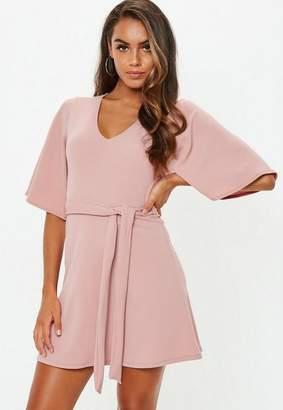 Missguided Petite Pink Kimono Sleeve Plunge Dress