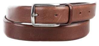 J. Lindeberg Silver-Tone Buckle Leather Belt