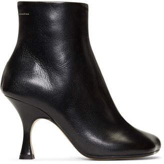 MM6 MAISON MARGIELA Black Flared Heel Boots