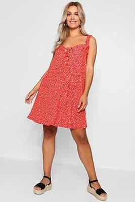 boohoo NEW Womens Plus Ditsy Floral Ruffle Sun Dress in Viscose 5% Elastane