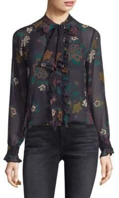 7 For All Mankind Silk Ruffle Floral Blouse