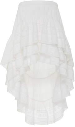 LoveShackFancy Lisette Tiered High-Low Cotton Skirt