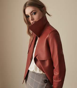 Reiss Our last order date for Christmas has now passed LUCIE SHORT LEATHER JACKET Red