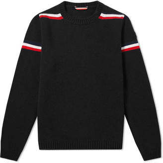Moncler Twist Shoulder Stripe Crew Knit
