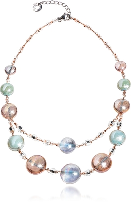 Antica Murrina Redentore 3 - Pink & Green Murano Glass and Silver Leaf Choker $125 thestylecure.com