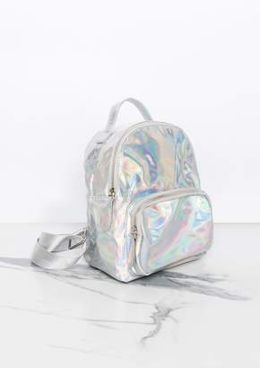 Missy Empire Missyempire Tabby Silver Holographic Mini Backpack