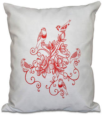 E By Design Five Little Birds 16 Inch Coral Decorative Floral Throw Pillow