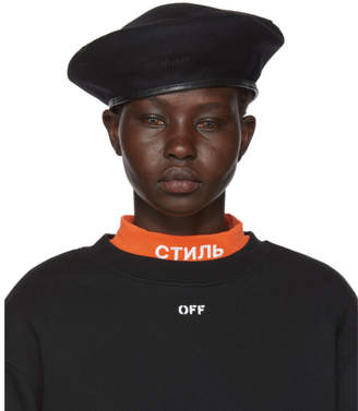 Off-White Black Logo Beret