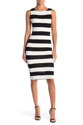 Velvet Torch Lace Overlay Striped Dress