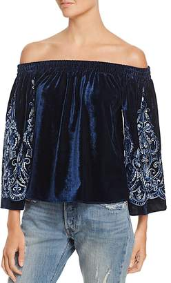 MISA Los Angeles Embroidered Off-the-Shoulder Top