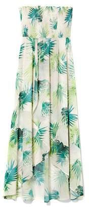 Vince Camuto Palm-print Strapless Maxi Dress