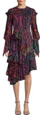 Josie Natori Bohemian Garden Print Asymmetric Silk A-Line Midi Dress