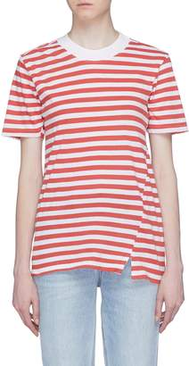 Bassike Split hem stripe organic cotton T-shirt