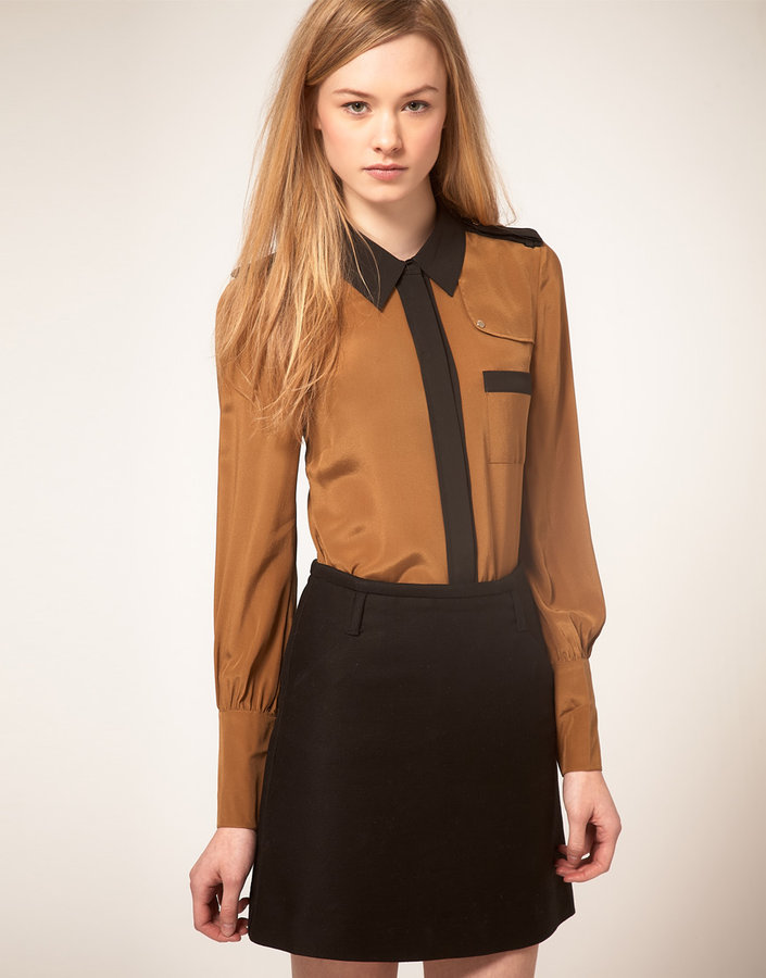 Ted Baker Color Block Detail Silk Shirt