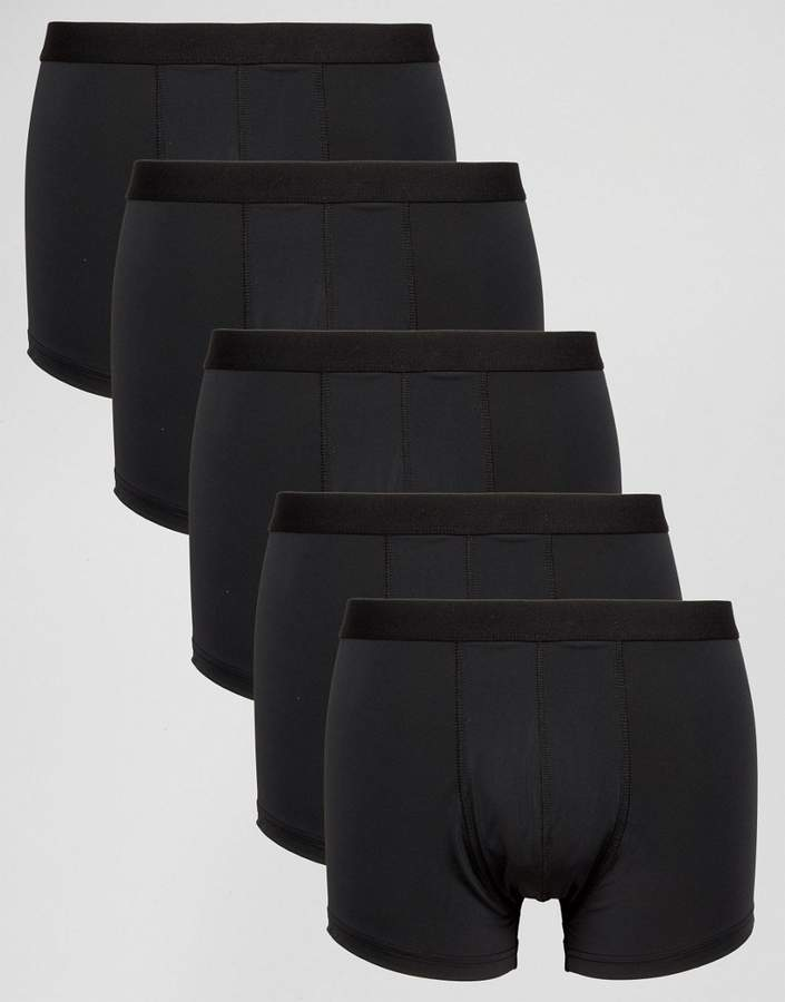Asos Trunks 5 Pack In Black Microfibre Save