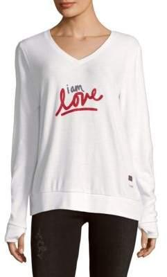Peace Love World I Am Love V-Neck Sweater