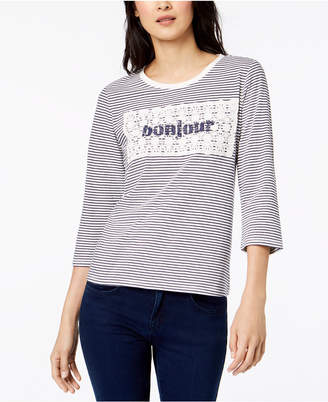 Maison Jules Cotton Striped Crochet-Overlay Bonjour Top