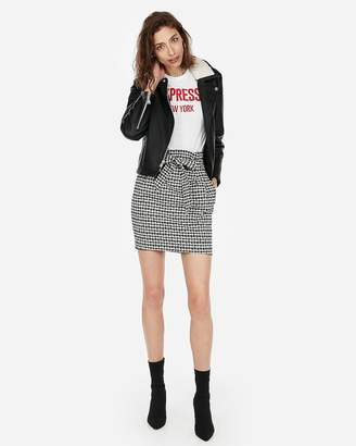Express Houndstooth Sash Waist Mini Skirt