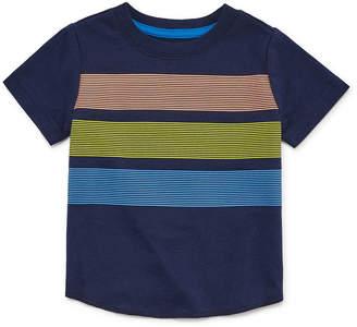 Okie Dokie Short Sleeve Stripe Crew Neck T-Shirt-Baby Boy NB-24M