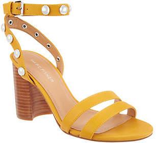 Marc Fisher Embellished Leather Heeled Sandals- Lantern
