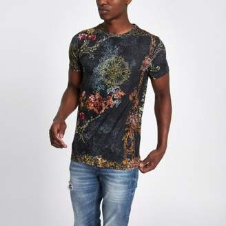 River Island Black slim fit leopard print T-shirt