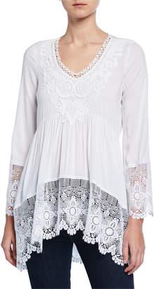 99dccbea6c8b96 Neiman Marcus Crochet Lace Long-Sleeve Blouse