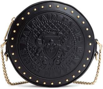 Balmain Disco black leather shoulder bag