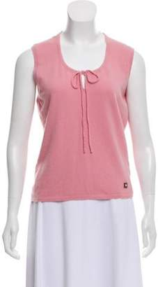 Chanel Tie-Accented Cashmere Top pink Tie-Accented Cashmere Top