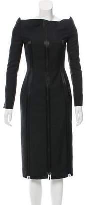 Thom Browne Off-The-Shoulder Wool-Blend Dress