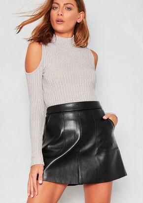 e02219ab40be Missy Empire Missyempire Kira Black Faux Leather Pocket A-Line Mini Skirt