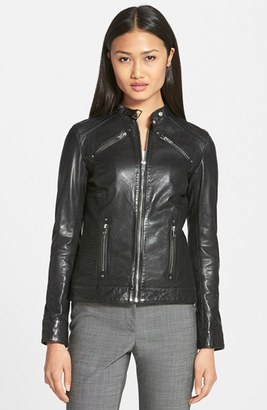 Women's Lamarque Leighton Stitch Detail Lambskin Leather Jacket $555 thestylecure.com