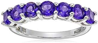 Amethyst Five Stone Ring in Sterling Silver (5mm)