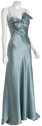 Dina Bar-El dusty blue silk bow bodice long dress