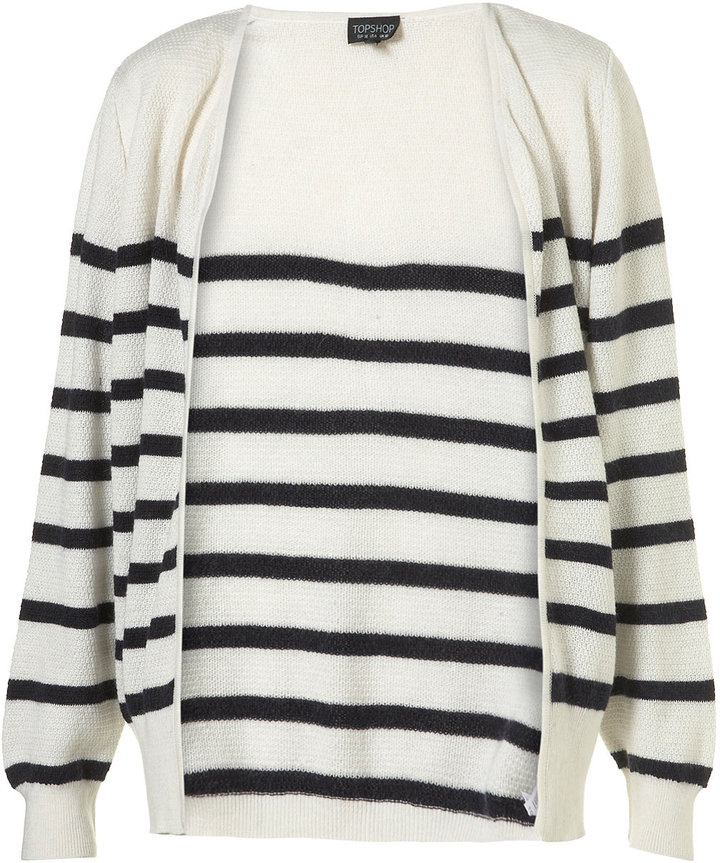 Knitted Cream Angora Mix Breton Stripe Cardigan