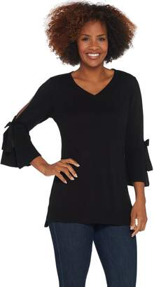 Isaac Mizrahi Live! V-Neck Split Tie Sleeve Tunic Sweater