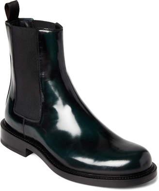 Jil Sander Black & Green Patent Chelsea Boots