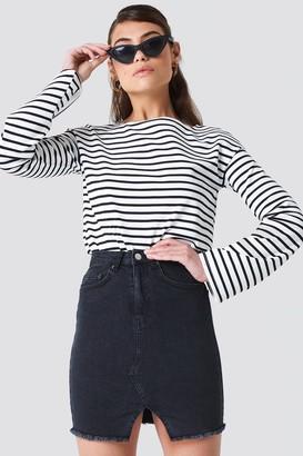 Na Kd Trend Front Cut Denim Skirt Black