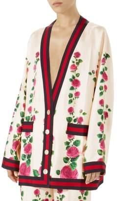 Gucci Stripe Trim Rose Print Silk Cardigan