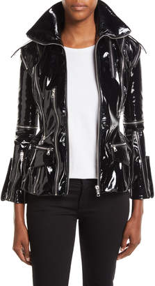 Richard Quinn Zip-Front Patent Leather Jacket w/ Floral-Print Lining