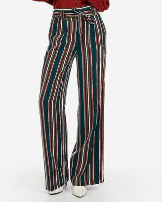Express High Waisted Striped Sash Waist Wide Leg Pant