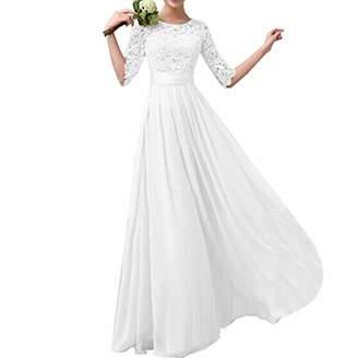 Eiffel Women's Lace Splicing Chiffon Long Maxi Dress Evening Wedding Bridesmaid Gown