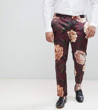 Asos DESIGN PLUS Super Skinny Suit Pants In Burgundy Floral Print