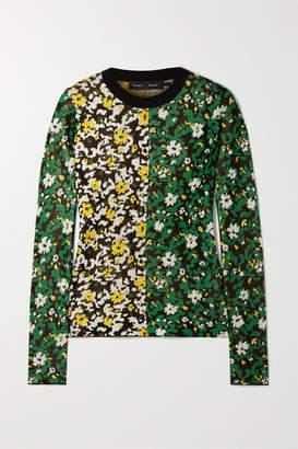 Proenza Schouler Floral-print Silk-jacquard Sweater - Green