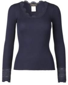 Rosemunde Long Sleeved Top - L / Light Grey Melange - Blue