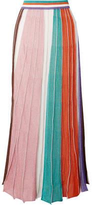 Missoni Pleated Striped Metallic Stretch-knit Maxi Skirt - Pink