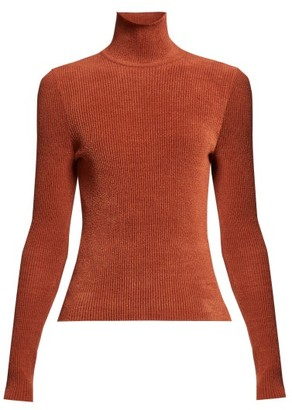 Alexandre Vauthier High Neck Ribbed Chenille Sweater - Womens - Brown